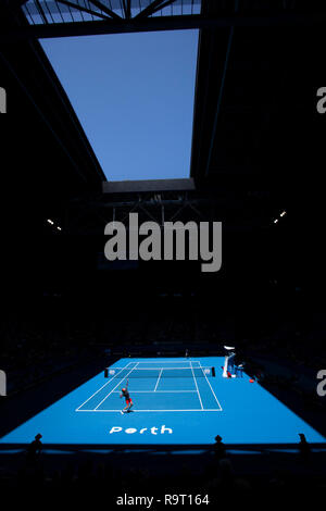 RAC Arena, Perth, Australia. 29th Dec, 2018. Hopman Cup Tennis, sponsored by Mastercard; Stefanos Tsitsipas of Team Greece playing against Cameron Norrie of Team Great Britain Credit: Action Plus Sports/Alamy Live News