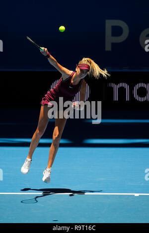 RAC Arena, Perth, Australia. 29th Dec, 2018. Hopman Cup Tennis, sponsored by Mastercard; Katie Boulter of Team Britain serves to Maria Sakkari of Team Greece Credit: Action Plus Sports/Alamy Live News