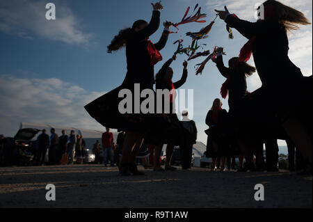 Women perform a traditional dance known as Pungmulnori at a