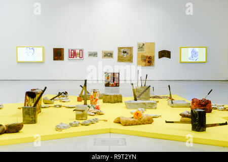 Krakow, Poland. 28th Dec, 2018. A detail view of art works of Boris Lurie Pop-art after the Holocaust exhibition. Boris Lurie (1924-2008) is an American artist of Jewish origin who was born in Leningrad (today St. Petersburg). In August 1941, the Germans began deporting the local Jewish population to the ghetto in Riga, where Boris Lurie spent his childhood. His Grandmother, mother, sister and beloved were shot in a forest near Rumbuli in the Riga suburbs in December 1941. his work is closely related to this experience during the Holocaust. The motifs appearing in his works are photos fr - Stock Photo