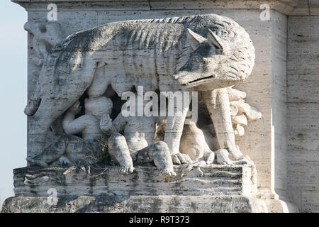 Rome, Italy. 29th Dec, 2018. A statue on Ponte Flaminio of Romulus and Remus founders of Rome suckling a wolf bathed sunshine as Rome experiences unseasonably warm weather for December Credit: amer ghazzal/Alamy Live News - Stock Photo