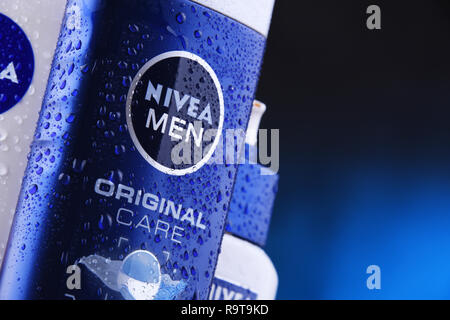 POZNAN, POL - DEC 5, 2018: Products of Nivea, a German personal care brand that specializes in skin- and body-care products. It is owned by Beiersdorf - Stock Photo