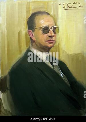 Retrato de Joaquín Rodrigo (Sagunto, Valencia, 1901-1999) por el pintor español Alejandro Cabeza. - Stock Photo