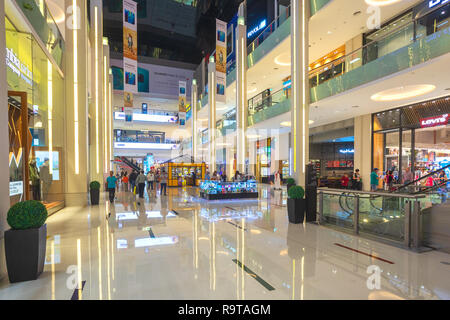 DUBAI, UAE - NOV 12, 2018: shoppers in Dubai Mall, the world's largest shopping mall based on total area and sixth largest by gross leasable area