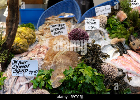 Borough Market London fish stall display of  Cornish squid, Lemon Sole & Gateshead Bream with parsley and various seafood in Britain UK  KATHY DEWITT - Stock Photo