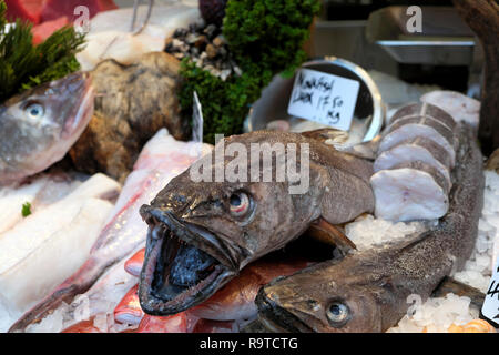 Borough Market London fish stall selling fresh Shetland Cod Fillet, Senegalese Red Snapper and Monkfish on ice South London England UK  KATHY DEWITT - Stock Photo