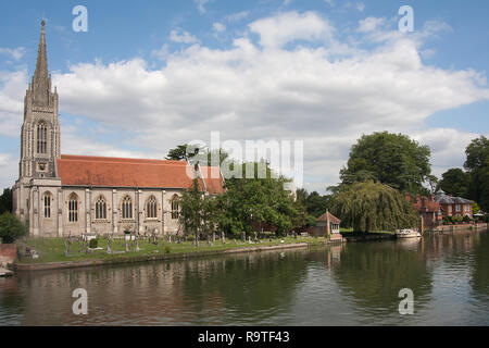 All Saints Church on the River Thames Marlow, Buckinghamshire, England - Stock Photo