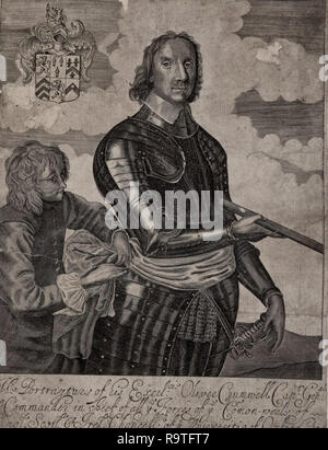 Portrait of Oliver Cromwell, circa 1650 - Stock Photo