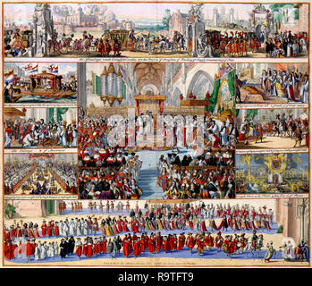 William III and his wife Mary Stuart were crowned as King and Queen of England during a session of the British House of Lords on 11 April 1689. Romeyn de Hooghe (1645-1708) documented this day in the beautiful print with 9 scenes of the coronation, from the fetching of the Crown Jewels from the Tower of London to the bonfires on the River Thames. The coronation itself is depicted in the middle of the print. - Stock Photo