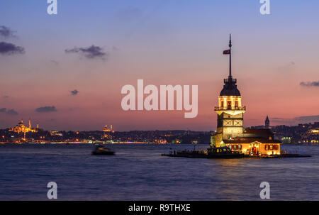The Maiden's Tower from the Middle Age Byzantine Period is located in the Bosphorus istanbul, Turkey - Stock Photo