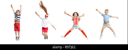 The kids dance school, ballet, hiphop, street, funky and modern dancers on white studio background. Girls and boys is showing aerobic and dance element. Teen in hip hop style. Collage - Stock Photo