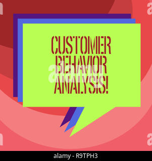 Text sign showing Customer Behavior Analysis. Conceptual photo buying behaviour of consumers who use goods Stack of Speech Bubble Different Color Blan - Stock Photo