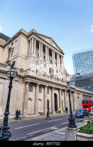 Portico entrance, facade and exterior of The Bank of England in Threadneedle Street, City of London financial district, EC2 - Stock Photo