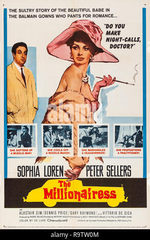 The Millionairess (20th Century Fox, 1960) Poster  Sophia Loren, Peter Sellers File Reference # 33635_928THA - Stock Photo