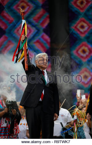 Mexican President Andres Manuel Lopez Obrador holds a Command Cane that was given to him by indigenous representatives. - Stock Photo