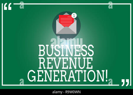 Handwriting text Business Revenue Generation. Concept meaning markets and sells a product to produce income Open Envelope with Paper New Email Message - Stock Photo