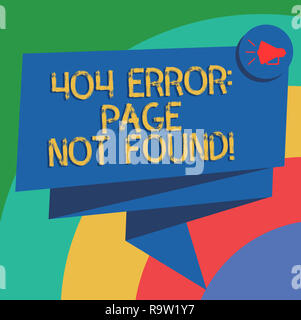 Conceptual hand writing showing 404 Error Page Not Found. Business photo text Webpage on Server has been Removed or Moved Folded 3D Ribbon Sash Speech - Stock Photo