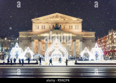 Moscow, Russia - December 19, 2018: Theater Square and Bolshoi Theater in Moscow Winter before Christmas and New Year.