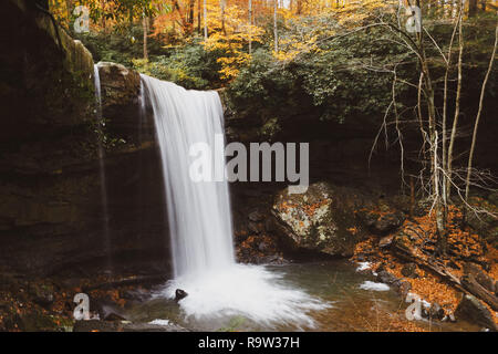 Cucumber Falls, located in Ohiopyle, Pennsylvania, is one of the state's most beautiful waterfalls - Stock Photo