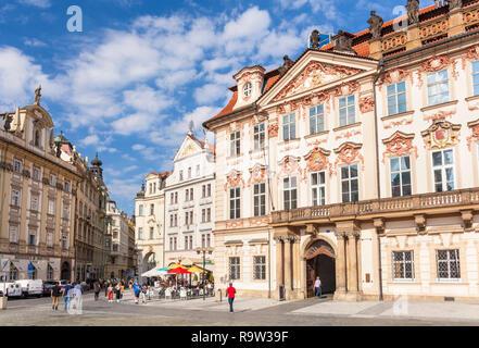 Prague National Gallery Prague Národní galerie, Palác Kinských Kinský Palace  Old town square Staromestske Namesti Prague Czech Republic Europe - Stock Photo