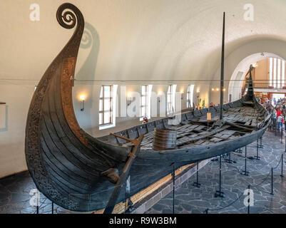The Oseberg Ship (Osebergskipet) in the Viking Ship Museum (Vikingskipshuset), Bygdøy, Oslo, Norway - Stock Photo