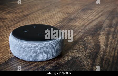 3rd generation Echo Dot smart speaker with Alexa from Amazon - Stock Photo