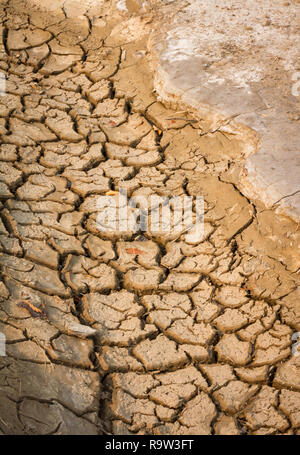 Parched soil near Drumheller, Alberta, Canada, during scorching hot summer of 2017 stoked fears of drought and global warming on the Prairies. - Stock Photo