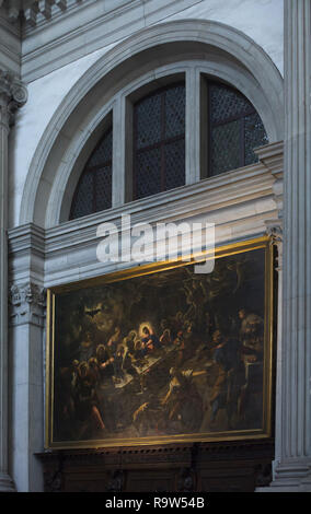 Painting 'Last Supper' by Venetian Renaissance painter Jacopo Robusti called Tintoretto (1592-1594) on display in the Church of San Giorgio Maggiore (Basilica di San Giorgio Maggiore) on the Island of San Giorgio Maggiore in Venice, Italy. - Stock Photo