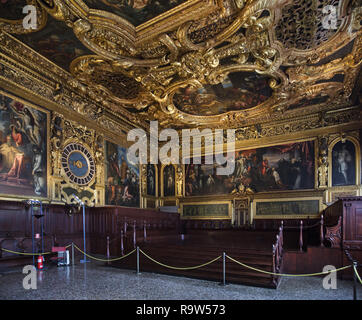 Painting 'Dead Christ adored by the Doges Pietro Lando and Marcantonio Trevisan' by Venetian Renaissance painter Jacopo Robusti called Tintoretto (1592-1594) in the Senate Chamber (Sala del Senato) in the Doge's Palace (Palazzo Ducale) in Venice, Italy. - Stock Photo