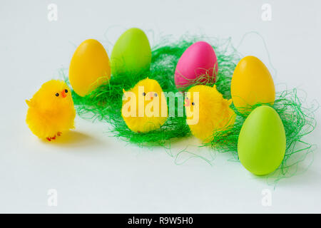 Easter composition of painted eggs on a white background. Background for greeting card.