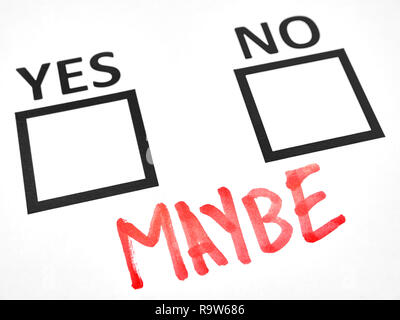 Indecision between yes or no writes maybe - Stock Photo