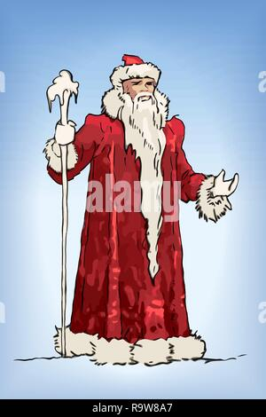 Blue Russian Grandfather Frost sketch. Ded Moroz - Stock Photo