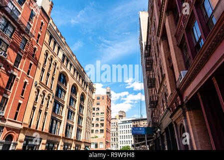 New York City, USA - June 25, 2018: Low angle view of luxury apartment buildings in Tribeca North District. - Stock Photo