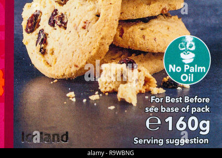 No Palm Oil symbol on box of Iceland Luxury Mince Pie Scottish Shortbread Rounds produced in Scotland - Stock Photo