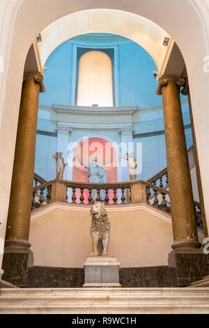 The grand central staircase In the National Archaeological Museum at Naples, Italy. - Stock Photo