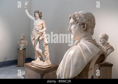 Roman period sculptures In the National Archaeological Museum at Naples, Italy. - Stock Photo