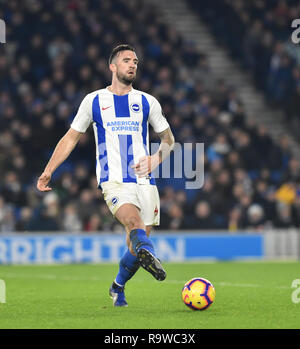 Shane Duffy of Brighton during the Premier League match between Brighton & Hove Albion and Arsenal at the American Express Community Stadium. 26 December 2018 Editorial use only. No merchandising. For Football images FA and Premier League restrictions apply inc. no internet/mobile usage without FAPL license - for details contact Football Dataco - Stock Photo