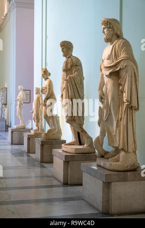 Roman period sculptures on display In the National Archaeological Museum at Naples, Italy. - Stock Photo