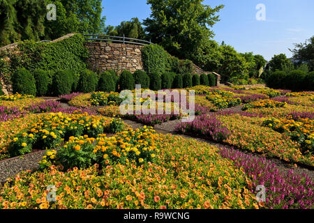 Patterned Quilt Garden in Asheville North Carolina - Stock Photo