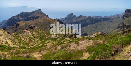 Panoramic view of the Macizo de Teno mountains, Masca Gorge and mountain road to the village of Maska. Tenerife. Canary Islands. Spain. - Stock Photo