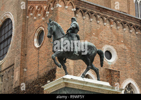 Equestrian statue of Bartolomeo Colleoni executed by Italian Renaissance sculptor Andrea del Verrocchio (1480-1488) in Campo Santi Giovanni e Paolo in Venice, Italy. - Stock Photo