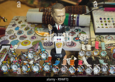 Statuette of Russian president Vladimir Putin on sale in a souvenir shop in Venice, Italy. - Stock Photo