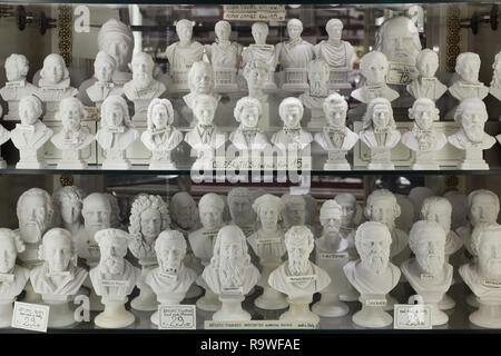 Hand made alabaster busts of famous persons on sale in a souvenir shop in Venice, Italy. Busts of Leonardo da Vinci, Michelangelo Buonarroti, Marco Polo, Albert Einstein, Isaac Newton, Dante Alighieri, Niccolò Machiavelli, Giacomo Casanova, Friedrich Nietzsche, Ludwig van Beethoven, Antonio Vivaldi, Giuseppe Verdi, Frédéric Chopin, Johann Sebastian Bach, Wolfgang Amadeus Mozart, Richard Wagner, Giacomo Puccini, Franz Liszt, Joseph Haydn, Johannes Brahms, Franz Schubert, Greek philosophers Socrates and Plato are seen among others. - Stock Photo