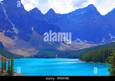 Morraine Lake is a glacier-fed lake in Banff National Park in the Canadian Rockies - Stock Photo