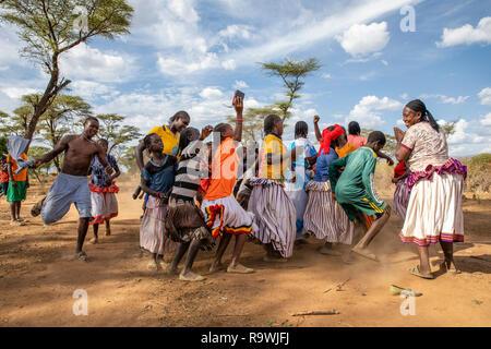 Meskel dancing celebrations of Arba Minch, Ethiopia - Stock Photo