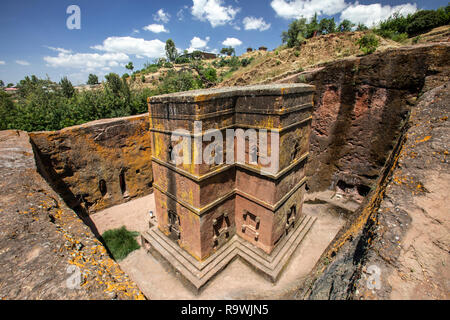 The rock-cut church of Saint George in Lalibela, Ethiopia - Stock Photo