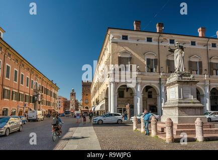 Girolamo Savonarola statue, Piazza Savonarola at Corso Martiri della Liberta in Ferrara, Emilia-Romagna, Italy - Stock Photo