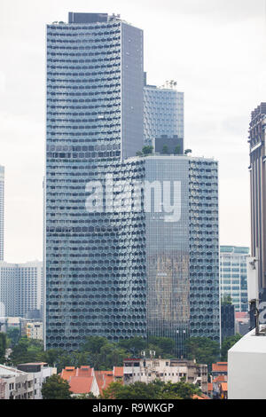 DUO residences and Tower taken from the eastern part of Singapore. - Stock Photo