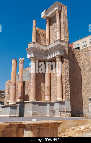 Views of the Roman Theatre of Cartagena, Spain. It was built around the year 5 BC. - Stock Photo