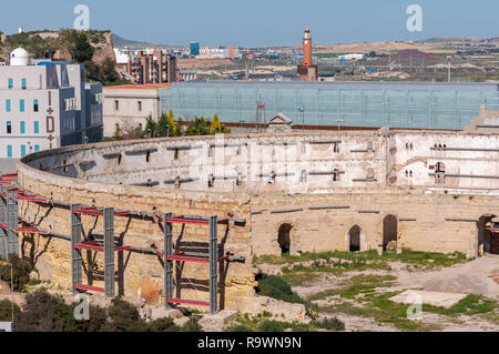 Views of the old bullring of Cartagena, in the province of Murcia, Spain. It was built in 1853. - Stock Photo